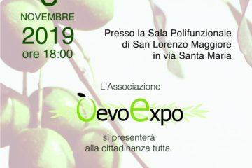 Locandina della presentazione dell'associazione O'Evo Expo
