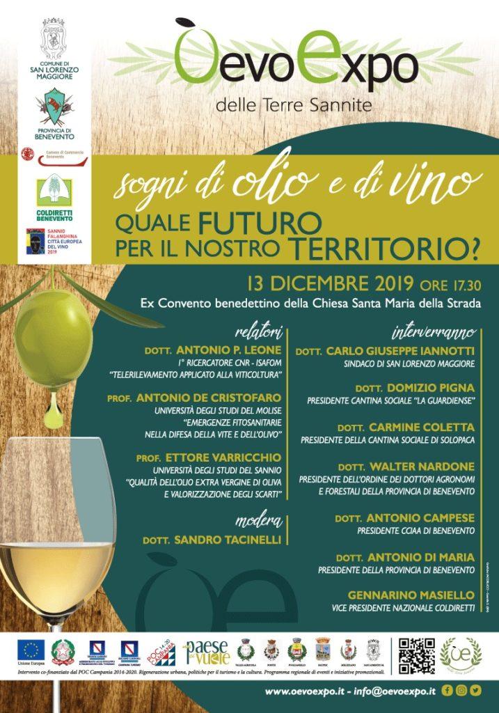 Locandina convegno: 'Sogni di olio e di vino - quale futuro per il nostro territorio?'